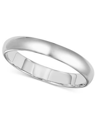 14k White Gold Ring, 3 mm Comfort Fit Band (Size 4-8)