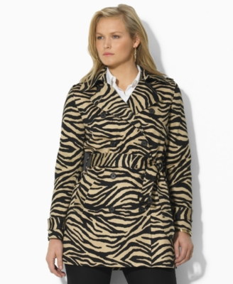 Lauren by Ralph Lauren Plus Size Jacket, Seabrook Zebra Sateen Trench