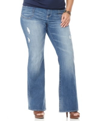 Hydraulic Plus Size Jeans, Boot Cut Lightly Destructed Medium Wash