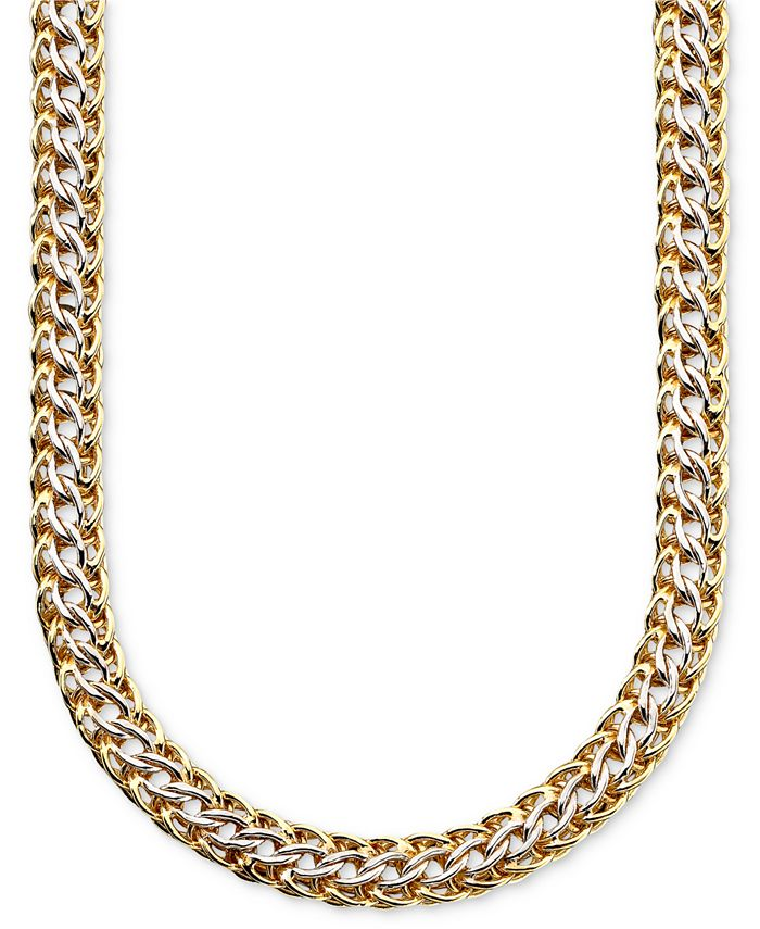Italian Gold - 14k Gold over Sterling Silver and Sterling Silver Necklace, Mesh