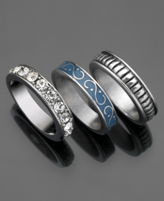 GUESS Rings, Silvertone and Blue Crystal Accent Set of Three