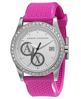 AX Armani Exchange Watch, Women's Pink Rubber Strap AX5007
