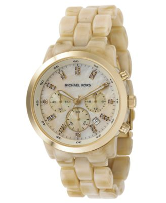 Michael Kors Watch Womens Chronograph Showstopper Stainless Steel and Horn Acrylic Bracelet 44mm MK5217