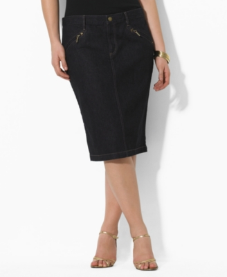 Lauren by Ralph Lauren Plus Size Skirt, Gesley Denim Pencil