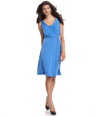 Rafaella Dress, Sleeveless Faux Wrap Matte Jersey
