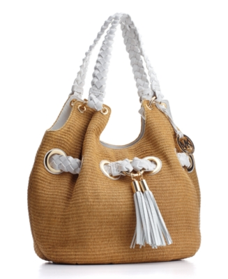 MICHAEL Michael Kors Handbag, Braided Grommet Straw Shoulder Tote, Large