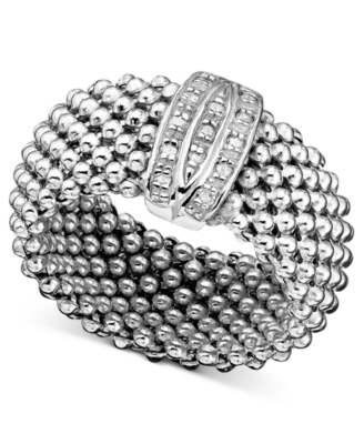Sterling Silver Ring, Diamond Mesh (1/8 ct. t.w.)