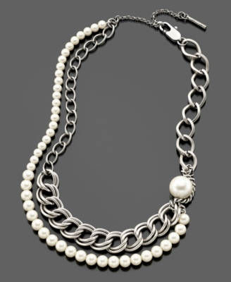 Kenneth Cole New York Necklace, Imitation Pearl and Chain