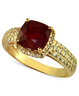 Effy Collection 14k Rose Gold Ring, Ruby (3-1/8 ct. t.w.) and Diamond (1/2 ct. t.w.)