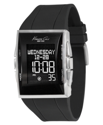 Kennet Cole New York Watch, Men's Black Silicone Strap KC1583