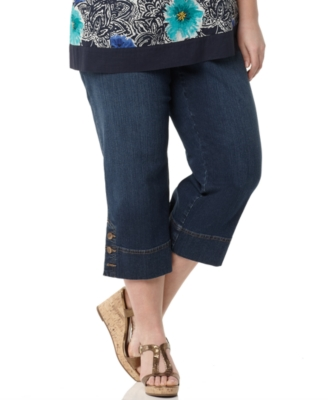 Charter Club Plus Size Jeans, Capri Blue Diamond Wash