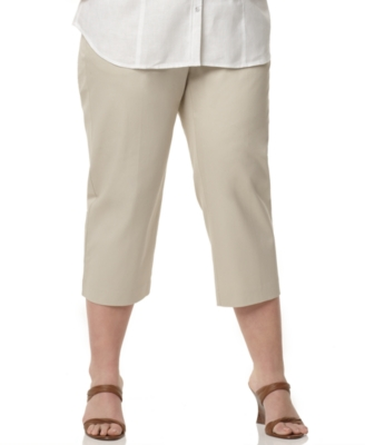 JM Collection Plus Size Pants, Twill Capri