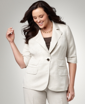 Alfani Plus Size Jacket, Elbow Sleeve Single Closure Linen Blazer