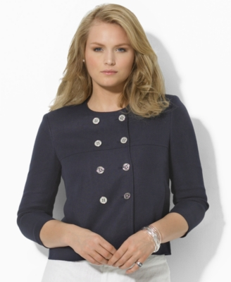 Lauren by Ralph Lauren Plus Size Jacket, Patricia Linen Double Breasted