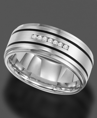 Men's Stainless Steel Ring, Diamond (1/10 ct. t.w.) (Size 8-15)