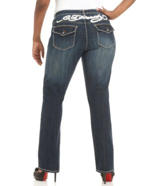 Ed Hardy Plus Size Jeans, Straight Leg Topstitched Dark Wash