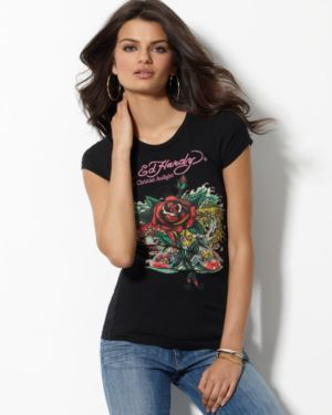 Ed Hardy Top, Single Stem Rose Crew Neck Tee