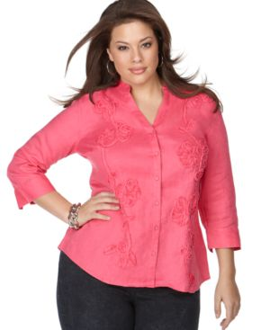 Charter Club Plus Size Shirt, Linen Floral Soutache