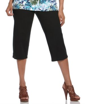 Karen Scott Plus Size Pants, Washed Twill Drawstring Capri - Pants & Shorts
