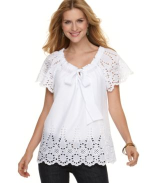 NY Collection Top, Flutter Sleeve Eyelet