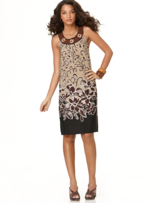 Elementz Dress, Printed Cleo Beaded Neck