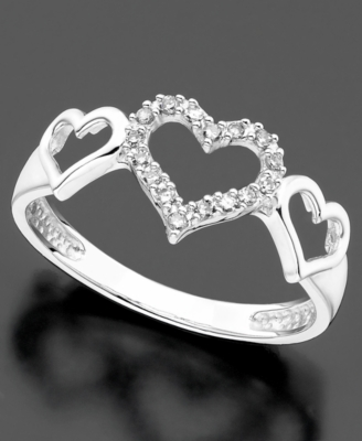 14k White Gold Ring, Diamond Accent Triple Heart