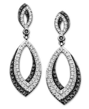 Sterling Silver Earrings, Black and White Diamond Oval (3/4 ct. t.w.)