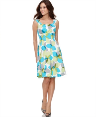 Maggy London Dress, Sleeveless Empire Waist Leaf Print