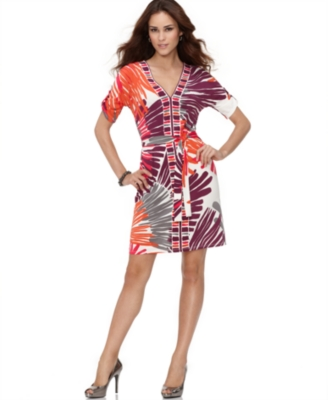 Nine West Dress, Sunset Border Elbow Sleeve Printed