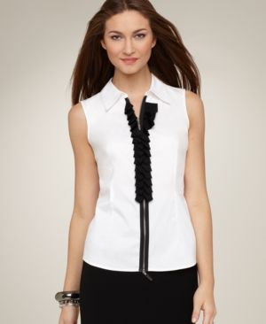 Alfani Top, Sleeveless Zip Front Woven