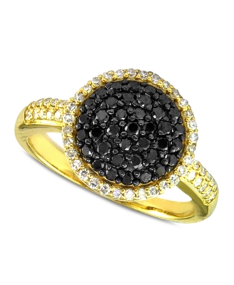 14k Gold Ring, Black and White Diamond Dome (5/8 ct. t.w.)