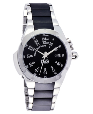 D&G Watch, Men's Black Rubber and Stainless Steel Bracelet DW0568 - Watches