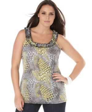 INC International Concepts Plus Size Top, Ruffled Neck Printed Tank
