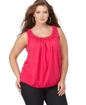 Calvin Klein Plus Size Top, Sleeveless Braided Neckline