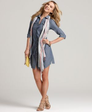 Tommy Hilfiger Dress, Chambray Shirt Dress - Clothes