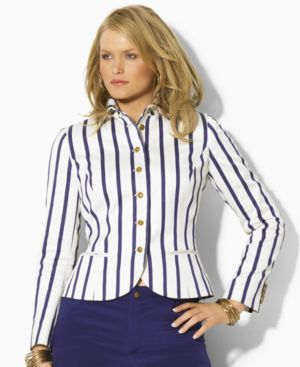 Lauren by Ralph Lauren Plus Size Jacket, Ainee Long Sleeved Striped