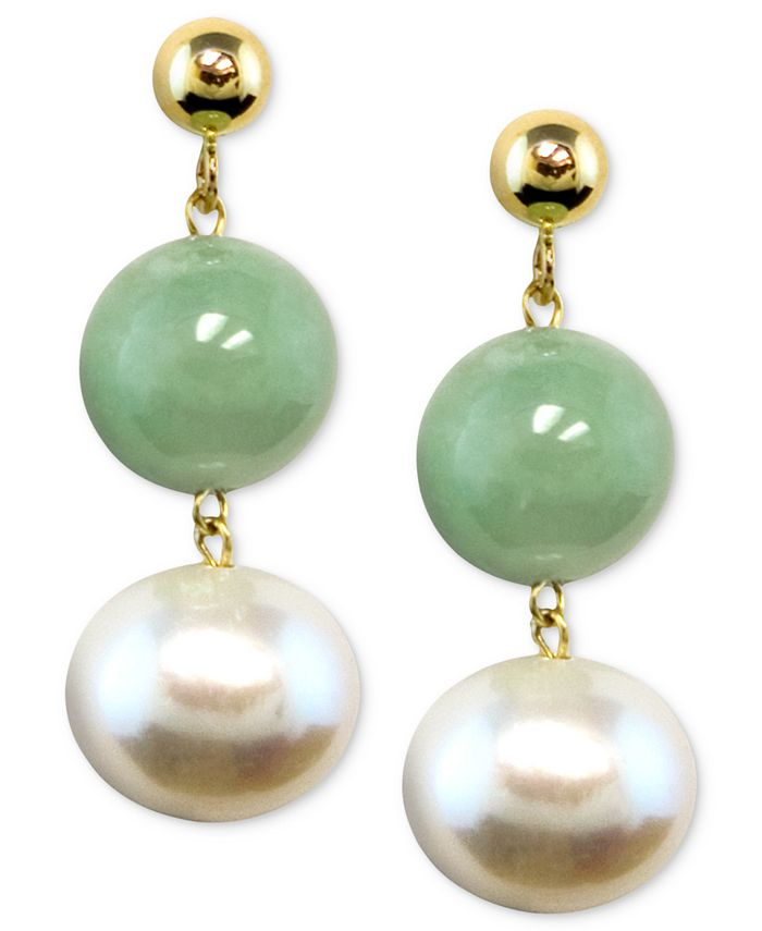 Macy's - 14k Gold Earrings, Cultured Freshwater Pearl and Jade