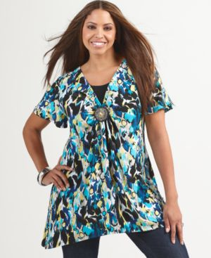 Style&co. Plus Size Top, Flutter Sleeve Floral Beaded Medallion Tunic