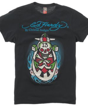 Ed Hardy T Shirt, Number 13 Skull Graphic