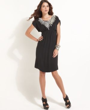 BCBGMAXAZRIA Dress, Short Sleeve Empire Waist with Sequins
