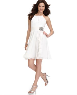 Nine West Dress, Sleeveless Halter with Flower