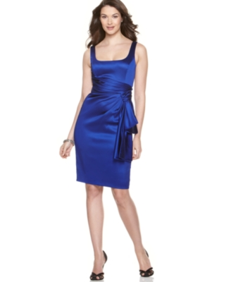 Maggy London Stretch Satin Side-Swag Dress