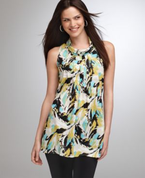 Alfani Top, Sleeveless Splash Print Pleated Tunic