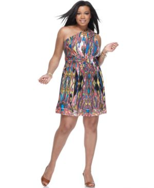Baby Phat Plus Size Dress, One Shoulder Ikat Print