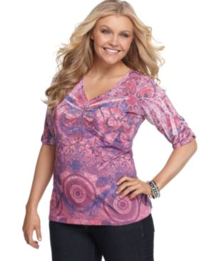 One World Plus Size Top, Beaded Mixed Print Ruched Sleeve