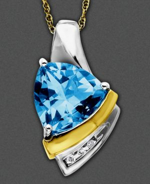 14k Gold and Sterling Silver Pendant, Blue Topaz (2-3/4 ct. t.w.) and Diamond Accent - Pendant Necklaces