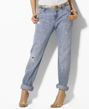 Lauren Jeans Co. Jeans, Distressed Boyfriend Norfolk Wash - Jeans