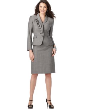Tahari Suit, Long Sleeve Ruffled Jacket & Skirt