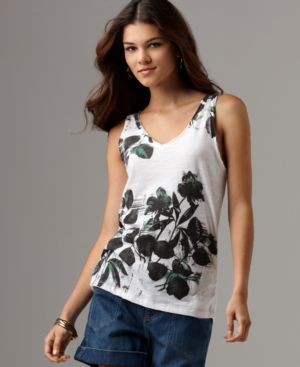 DKNY Jeans Top, V-Neck Graphic Tank