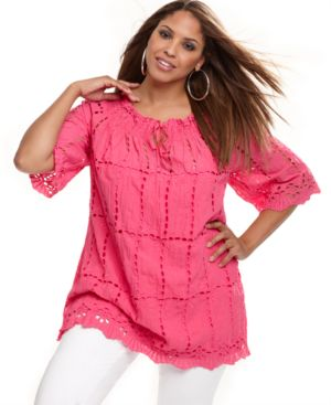 INC International Concepts Plus Size Top, Three Quarter Sleeve Eyelet Tunic